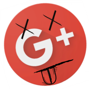 Google+ logo with dead eyes and tongue hanging out