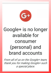 Google+ is no longer available screenshot (1)